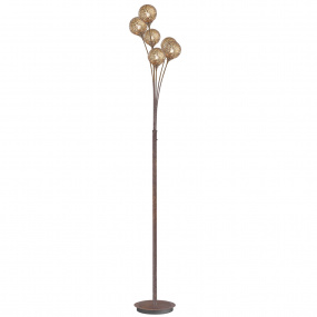 Greta Rust Floor Lamp with Six Shades