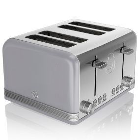 Swan Retro Grey 4 Slice Toaster