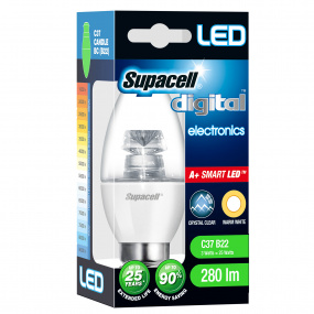 Supacell BC B22 3W Candle LED Clear Light Bulb