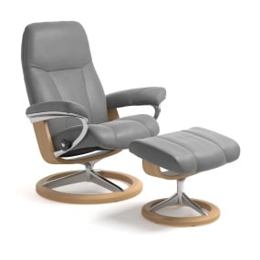 Stressless Large Consul Chair & Footstool with Signature Base - Dove Grey
