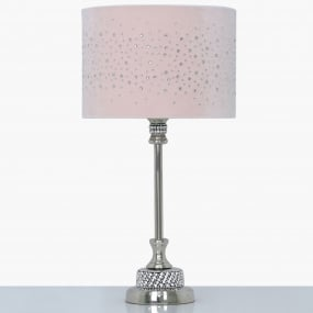 Nickel and Diamante Candlestick Lamp with Light Pink Velvet Sparkle Shade
