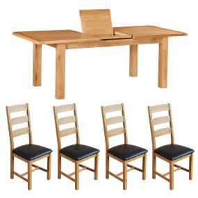 Dublin Small Extending Dining Table & 4 Dublin Slatted Chairs