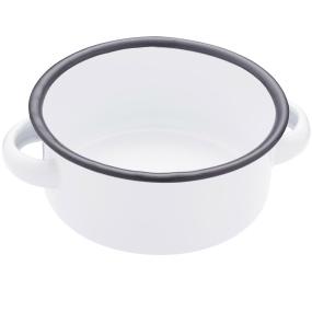 White 18cm Enamel Serving Bowl with Handles