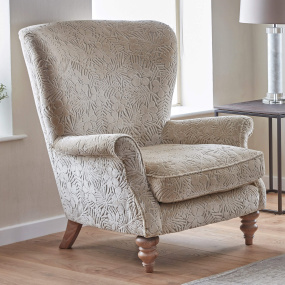 Laurence Natural Velvet Floral Pattern Wing Chair - Lifestyle | Housing Units