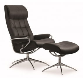 Stressless London Star Chair with Adjustable Headrest and Footstool   Housing Units