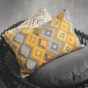 Aztex Ochre Embroidered Cushion