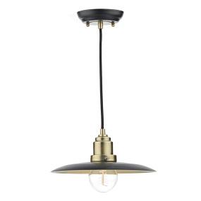 Hannover Antique Brass & Black Single Pendant Light