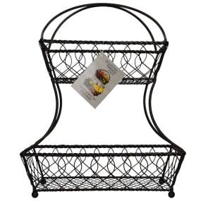 Mikasa Gourmet Basics 2 Tier Flatback Basket Loop & Lattice Wire