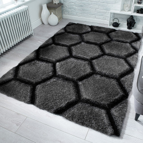 Verge Charcoal Honeycomb 160cm x 230cm Rug