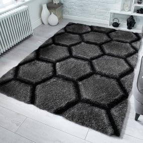 Verge Charcoal Honeycomb 160cm x 230cm Rug