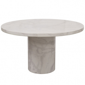 Savona Bone White Circular Marble Effect Coffee Table