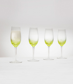 Set of 4 Green Bubble Flutes