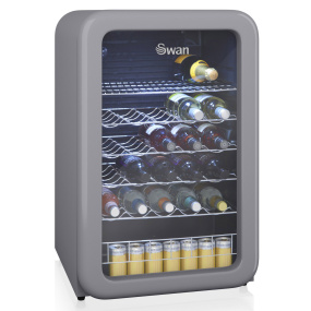 Swan Retro Grey 115 Litre Glass Fronted Under Counter Fridge