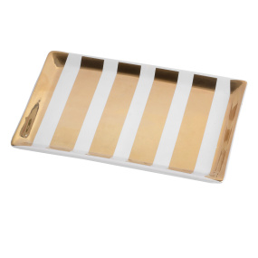 White and Gold Striped Tray