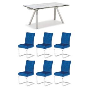Ravenna Ceramic Marble-Effect 160cm Extending Dining Table & 6 Carlo Blue Velvet Chairs | Housing Units