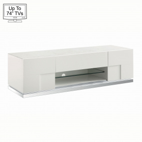 """Torino White High Gloss TV Stand for Up To 74"""" TVs"""