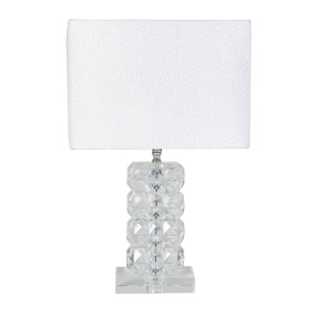 Ivanca Small Crystal Table Lamp with White Snakeskin Shade