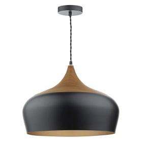 Gaucho Large Black Wood Single Pendant Light