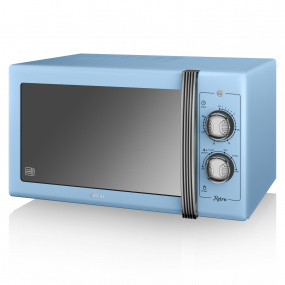 Swan Retro Blue 900W Manual Microwave