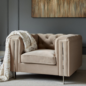 Kensington Tan Velvet Armchair - Lifestyle