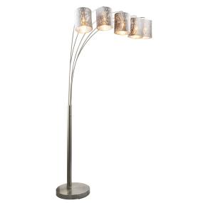 Globo Tarok Silver Velvet 5 Arm Floor Lamp