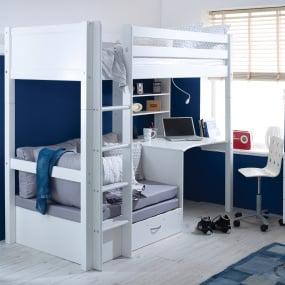 Flexa Nordic Highsleeper with Desk and Sofa Bed