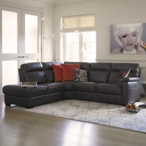 Trentino Grey Leather Corner Sofa (Left) - Lifestyle | Housing Units