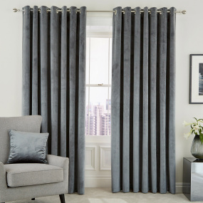 Peacock Blue Escala Steel 66x54 Curtains