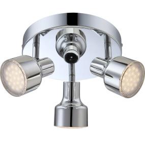 Globo Rois LED 3 Light Chrome Semi Flush Ceiling Light