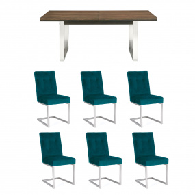 Teramo 6-10 Seat Extending Dining Table & 6 Sea Green Chairs