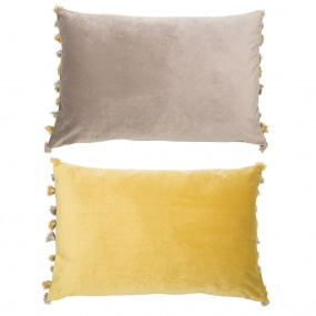 Malini Nappa Reversible Grey and Mustard Velvet Cushion