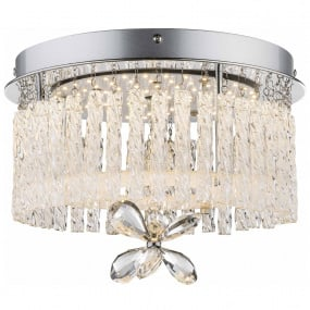 Mathilda Chrome & Crystal Semi Flush Ceiling Light