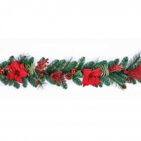 1.8m Red Poinsettia Garland