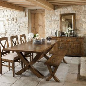 Axbridge Mango Wood Extending X Leg Dining Table & 6 Chairs - Lifestyle