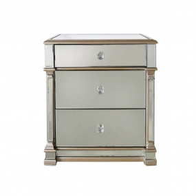 Versailles Champagne Mirror Finish 3 Drawer Bedside Chest