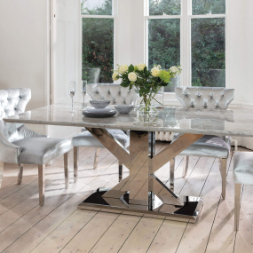 Tamzen 200cm Grey Marble Dining Table & 4 Silver Velvet Chairs | Housing Units