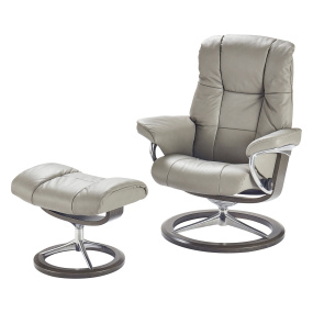 Stressless Mayfair Small Recliner Chair & Stool with Signature Base in Paloma Silver Grey
