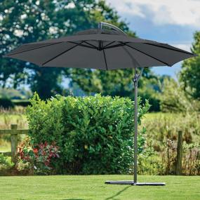 Supremo Riviera 300cm Crank & Tilt Free Arm Grey Garden Parasol | Housing Units