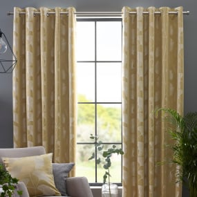 "Belfield Gingko Ochre 90"" x 90"" Curtains"