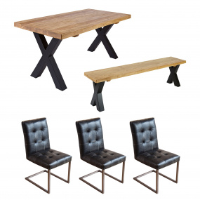 Ragana Reclaimed Timber 200cm Dining Table, Bench & 3 Edgar Chairs