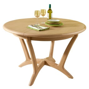 Oslo Light Oak Round 120cm Extending Dining Table