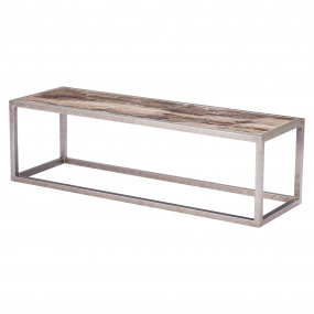 Mariposa Rectangular Marble Coffee Table - Angled
