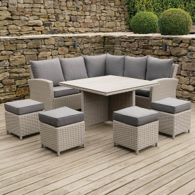 Cairo Square Stone Grey Rattan Corner Garden Dining Set - Lifestyle | Housing Units