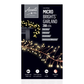288 Rose Gold Microbrights LED Christmas Garland Lights | Housing Units
