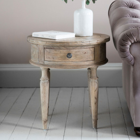 Bordeaux Mindy Wood Round Side Table with Drawer