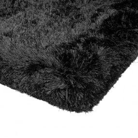 Plush Shaggy Black Rug Collection