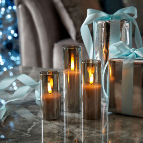 Set of 3 Flickabright Grey Glass LED Candles - Lifestyle | Housing Units