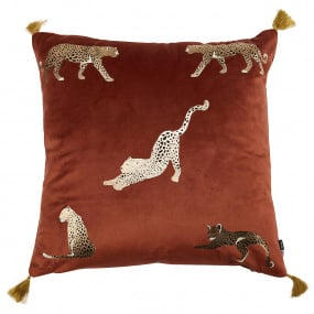 Malini Feline Foil Rust Cushion