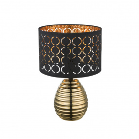 Globo Mirauea Gold Table Lamp and Black Shade