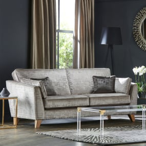 Veronica Silver Velvet Upholstered 3 Seater Sofa